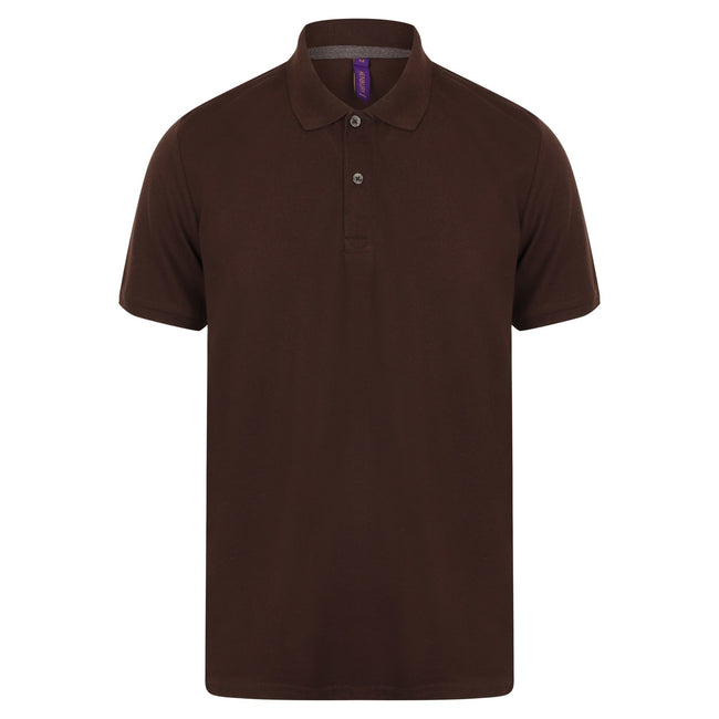 Chocolate - Front - Henbury Mens Modern Fit Cotton Pique Polo Shirt