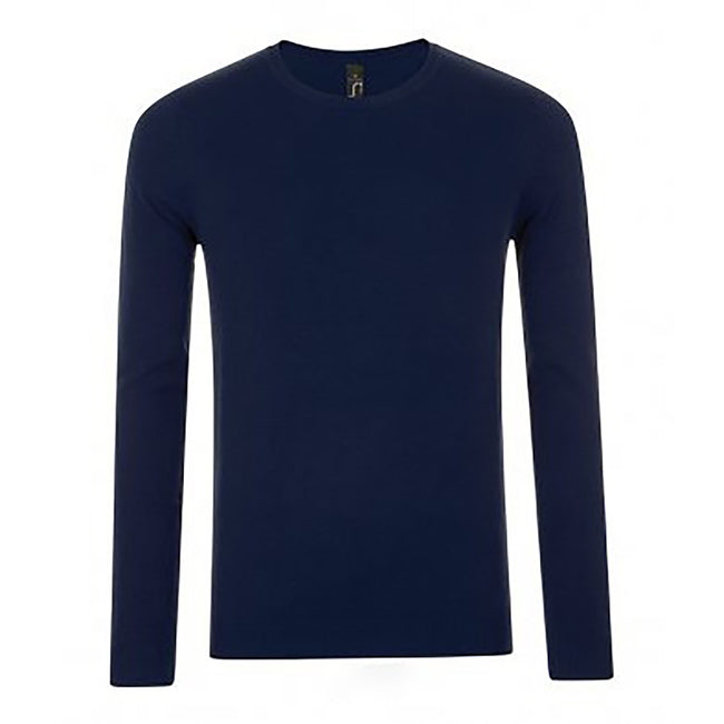 French Navy - Front - SOLS Mens Ginger Crew Neck Sweater