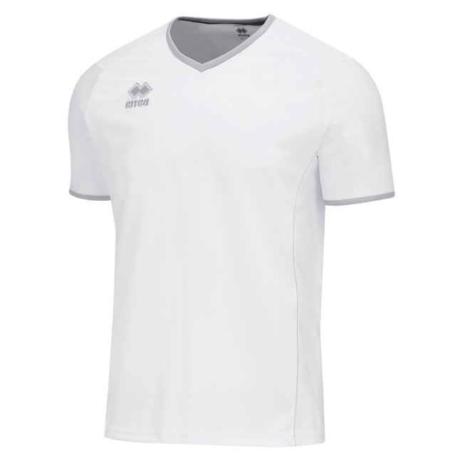 White-Grey - Front - Errea Unisex Lennox Short Sleeve T Shirt