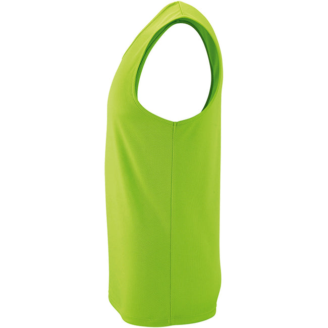 Neon Green - Side - SOLS Mens Sporty Performance Tank Top