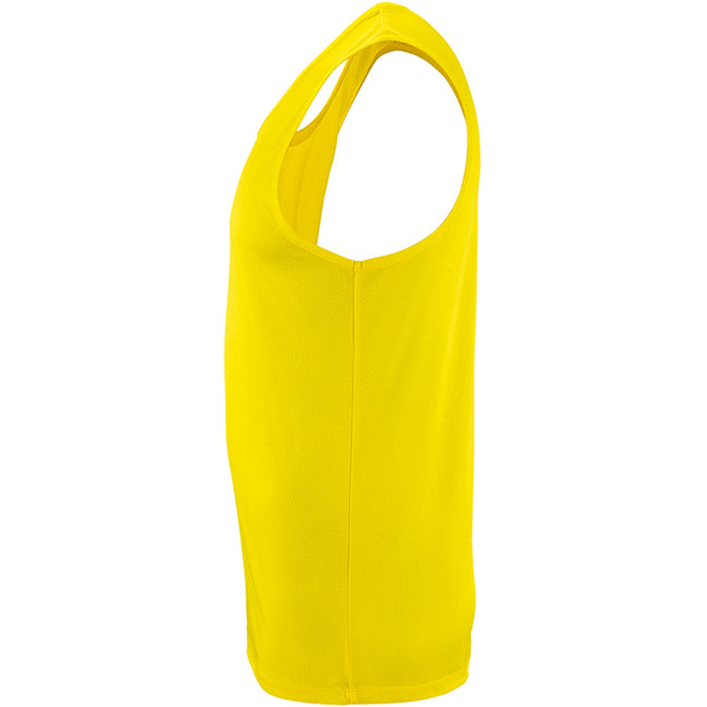 Neon Yellow - Side - SOLS Mens Sporty Performance Tank Top