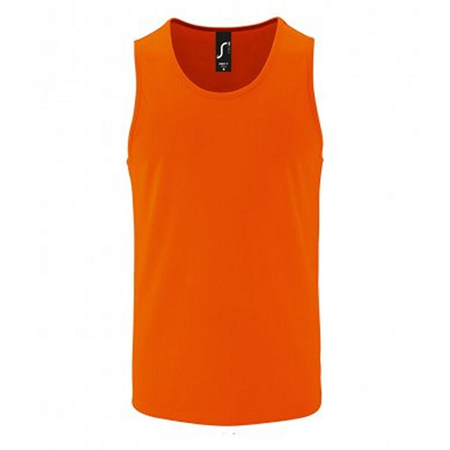 Neon Orange - Front - SOLS Mens Sporty Performance Tank Top