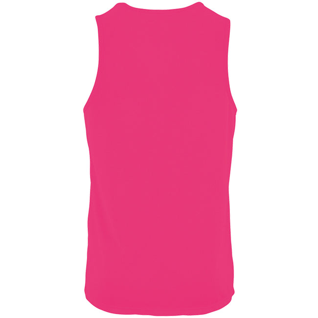 Neon Pink - Back - SOLS Mens Sporty Performance Tank Top