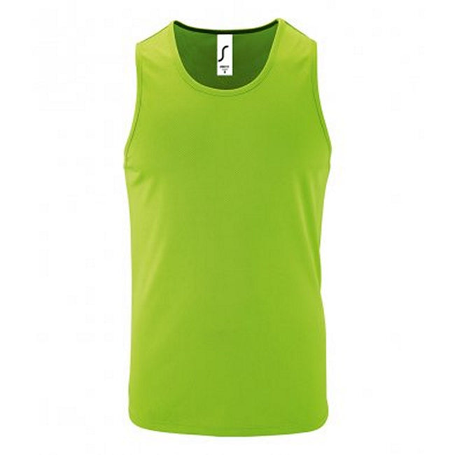 Neon Green - Front - SOLS Mens Sporty Performance Tank Top