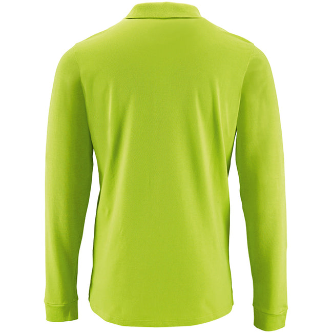 Apple Green - Back - SOLS Mens Perfect Long Sleeve Pique Polo Shirt