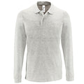 Ash - Front - SOLS Mens Perfect Long Sleeve Pique Polo Shirt