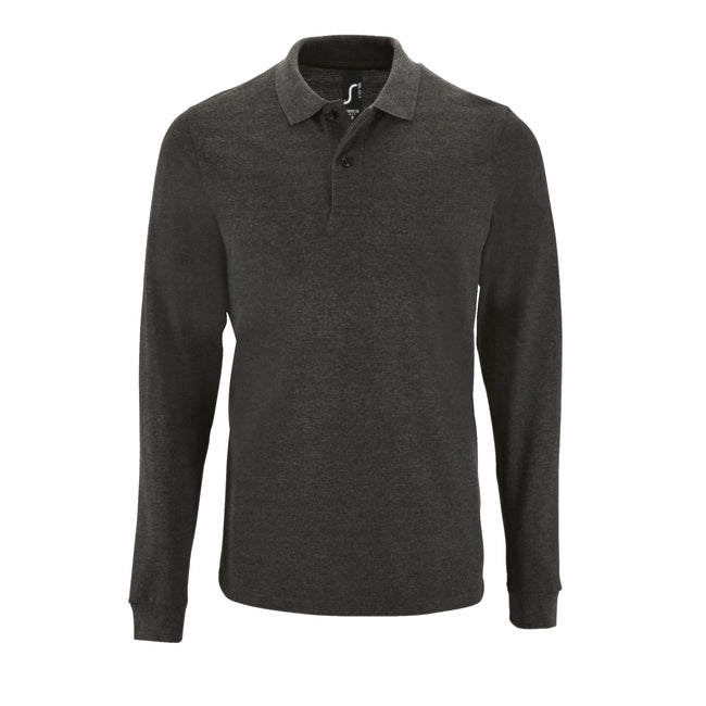 Charcoal Marl - Front - SOLS Mens Perfect Long Sleeve Pique Polo Shirt