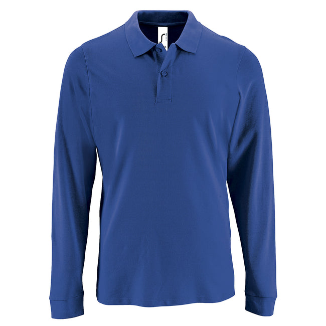 Royal Blue - Front - SOLS Mens Perfect Long Sleeve Pique Polo Shirt