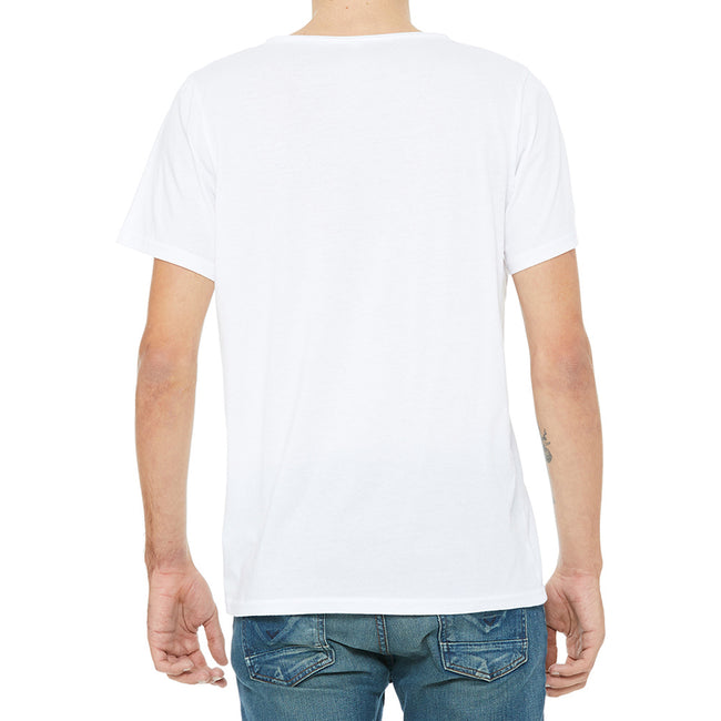 White - Back - Bella + Canvas Unisex Raw Neck T-Shirt