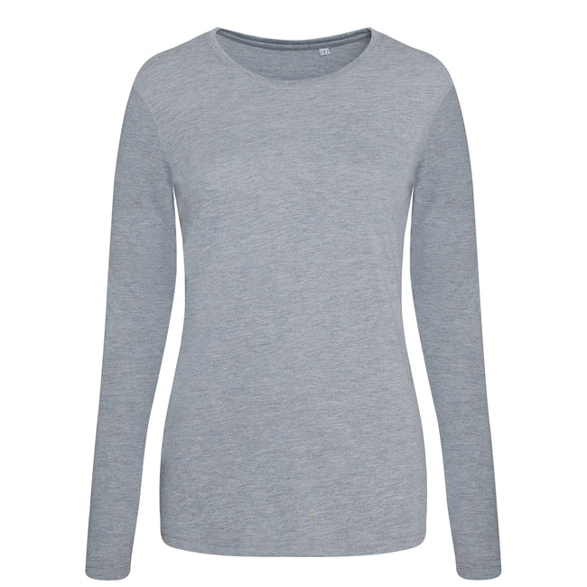 Heather Gray - Front - AWDis Womens-Ladies Girlie Long Sleeve Tri-Blend T-Shirt