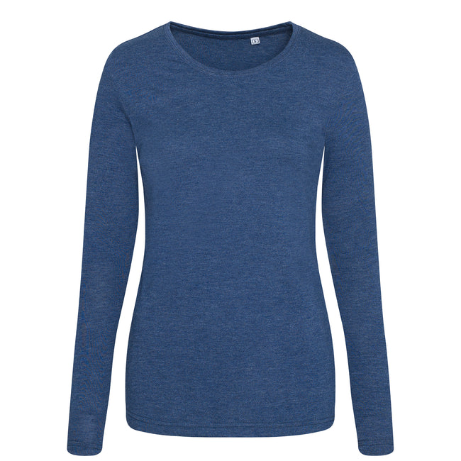 Heather Navy - Front - AWDis Womens-Ladies Girlie Long Sleeve Tri-Blend T-Shirt