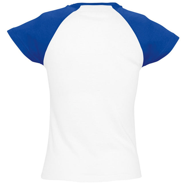 White-Royal Blue - Back - SOLS Womens-Ladies Milky Contrast Short-Sleeve T-Shirt