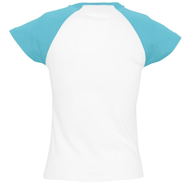 White-Blue Atoll - Back - SOLS Womens-Ladies Milky Contrast Short-Sleeve T-Shirt