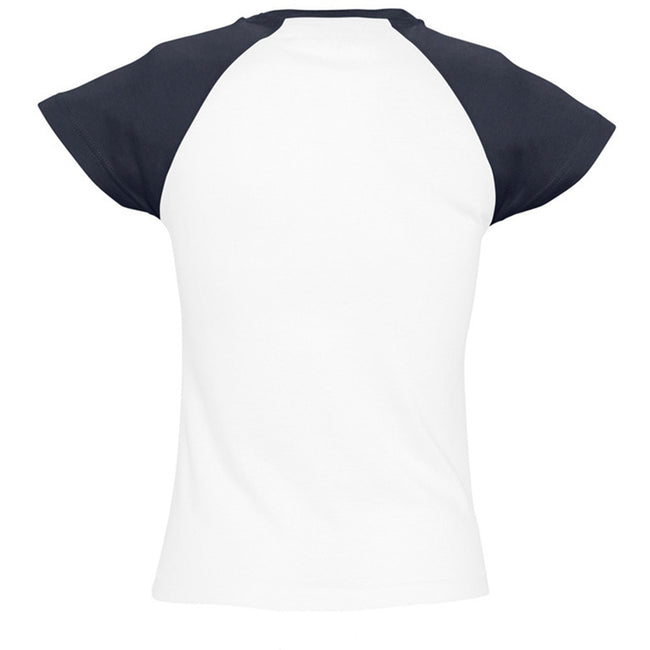 White-Navy - Back - SOLS Womens-Ladies Milky Contrast Short-Sleeve T-Shirt