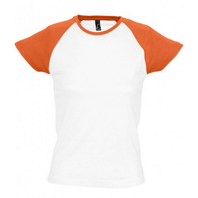 White-Orange - Front - SOLS Womens-Ladies Milky Contrast Short-Sleeve T-Shirt