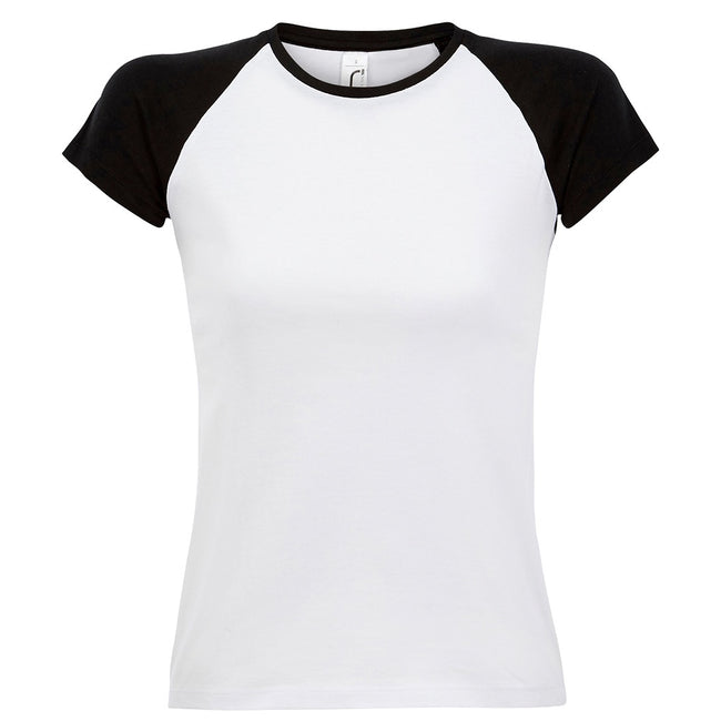 White-Black - Front - SOLS Womens-Ladies Milky Contrast Short-Sleeve T-Shirt