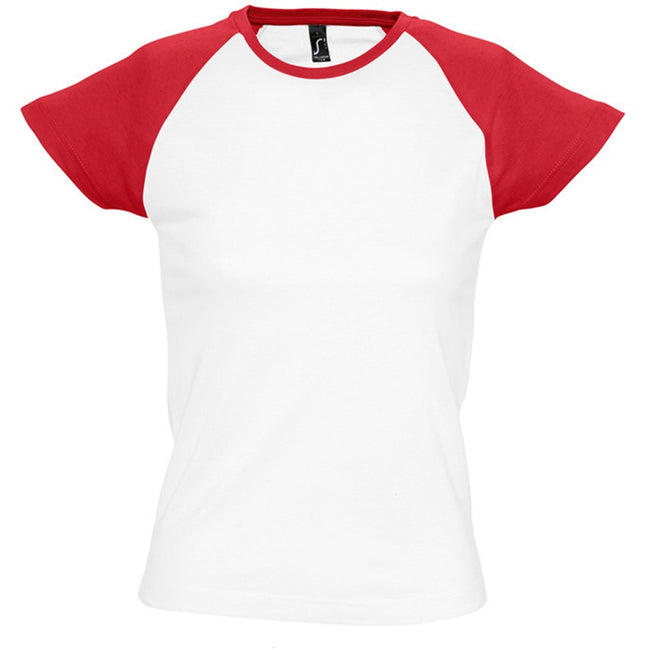 White-Red - Front - SOLS Womens-Ladies Milky Contrast Short-Sleeve T-Shirt