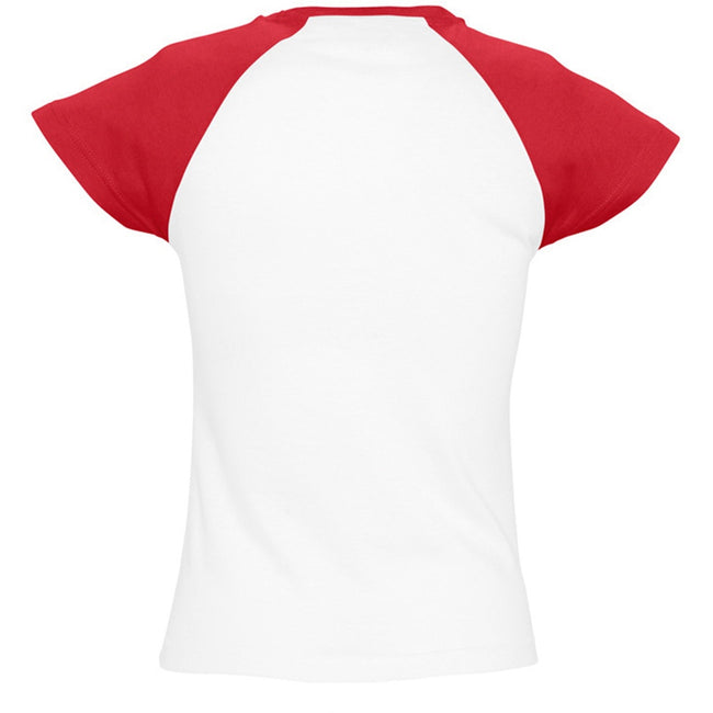 White-Red - Back - SOLS Womens-Ladies Milky Contrast Short-Sleeve T-Shirt