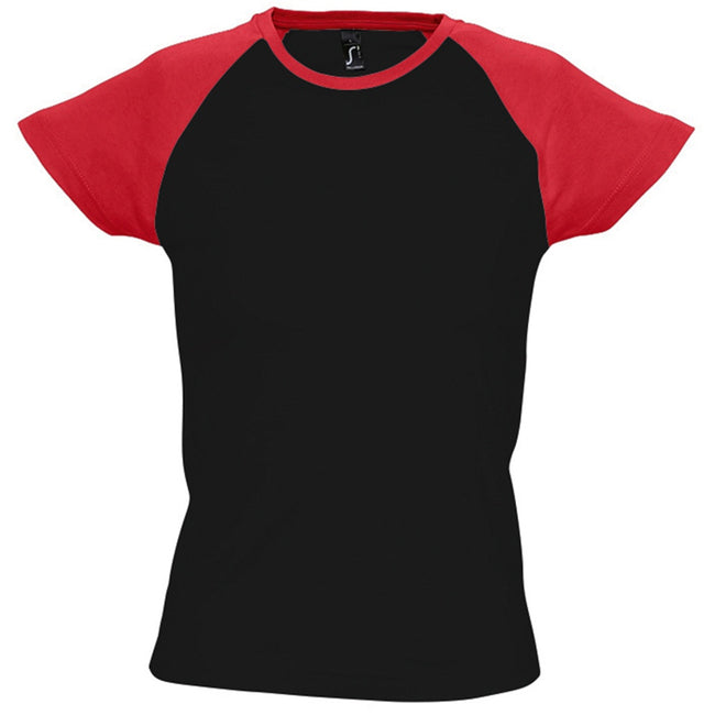 White-Red - Side - SOLS Womens-Ladies Milky Contrast Short-Sleeve T-Shirt