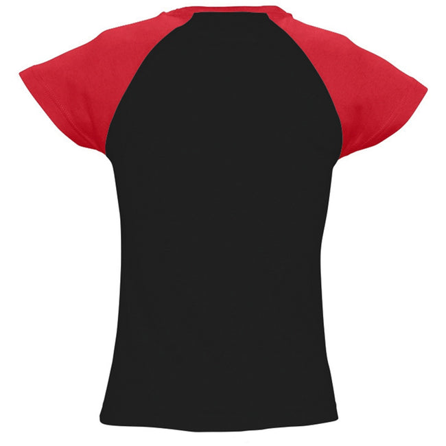 Black-Red - Back - SOLS Womens-Ladies Milky Contrast Short-Sleeve T-Shirt