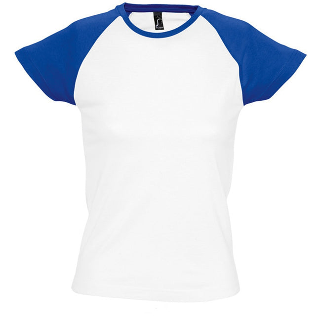 White-Royal Blue - Front - SOLS Womens-Ladies Milky Contrast Short-Sleeve T-Shirt