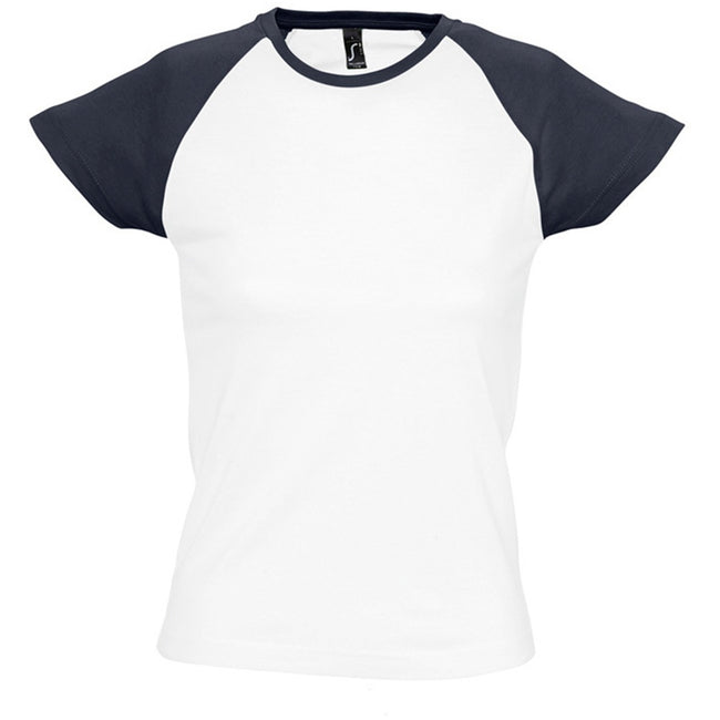 White-Navy - Front - SOLS Womens-Ladies Milky Contrast Short-Sleeve T-Shirt