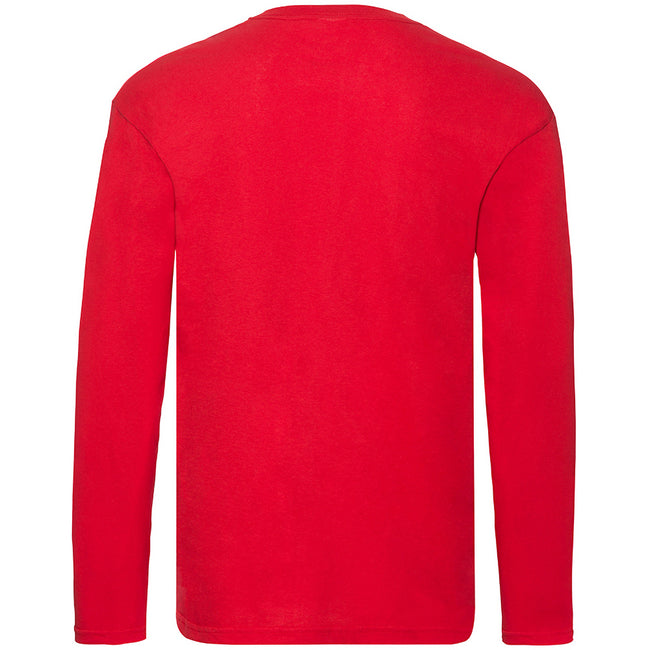 Red - Back - Fruit Of The Loom Mens Original Long Sleeve T-Shirt