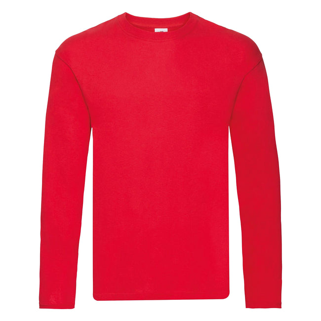 Red - Front - Fruit Of The Loom Mens Original Long Sleeve T-Shirt