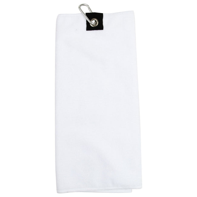 White - Front - Towel City Microfiber Golf Towel
