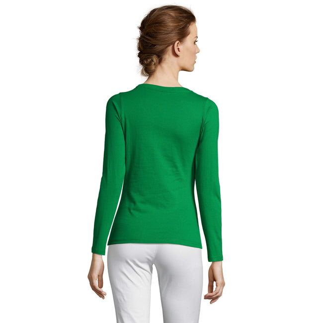 Kelly Green - Front - SOLS Womens-Ladies Majestic Long Sleeve T-Shirt
