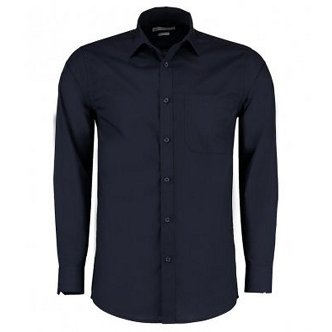 Dark Navy - Front - Kustom Kit Mens Long Sleeve Tailored Poplin Shirt