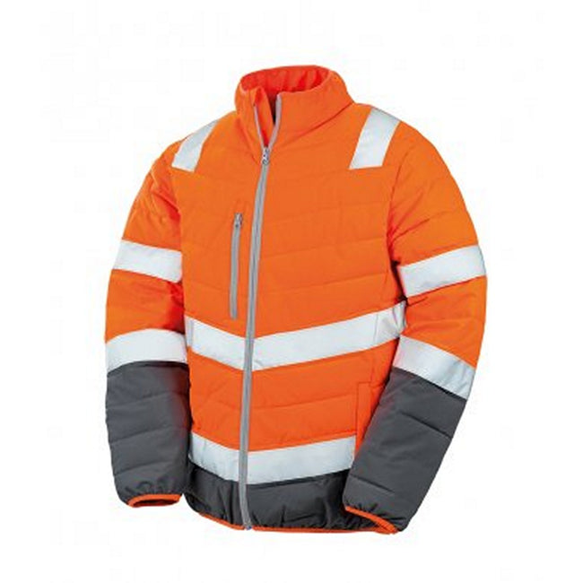 Fluorescent Yellow-Gray - Front - Result Mens Safe-Guard Soft Safety Jacket