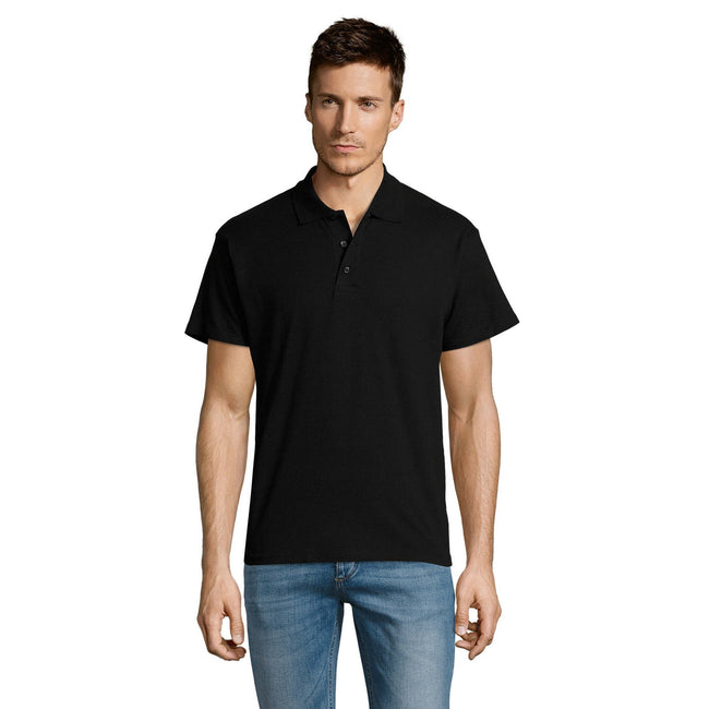 Sand - Front - SOLS Mens Summer II Pique Short Sleeve Polo Shirt
