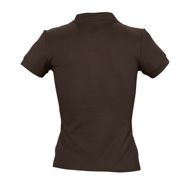 Chocolate - Back - SOLS Womens-Ladies People Pique Short Sleeve Cotton Polo Shirt