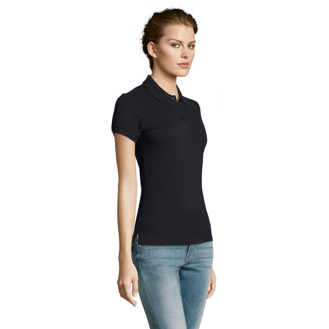 Gold - Side - SOLS Womens-Ladies People Pique Short Sleeve Cotton Polo Shirt