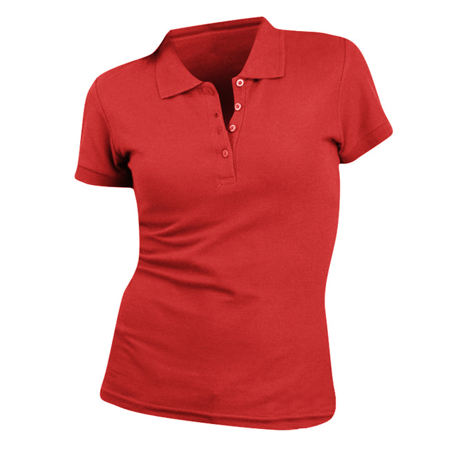Red - Front - SOLS Womens-Ladies People Pique Short Sleeve Cotton Polo Shirt