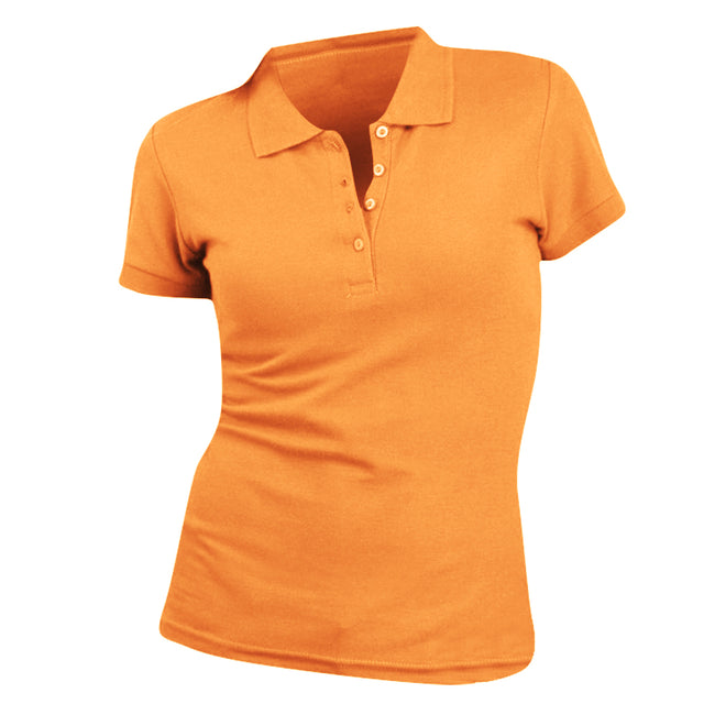 Orange - Front - SOLS Womens-Ladies People Pique Short Sleeve Cotton Polo Shirt