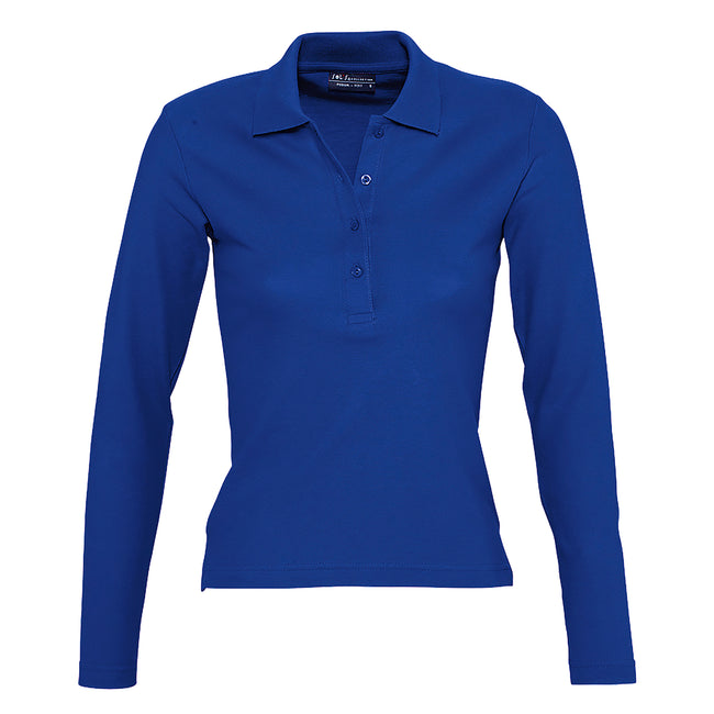 Royal Blue - Front - SOLS Womens-Ladies Podium Long Sleeve Pique Cotton Polo Shirt