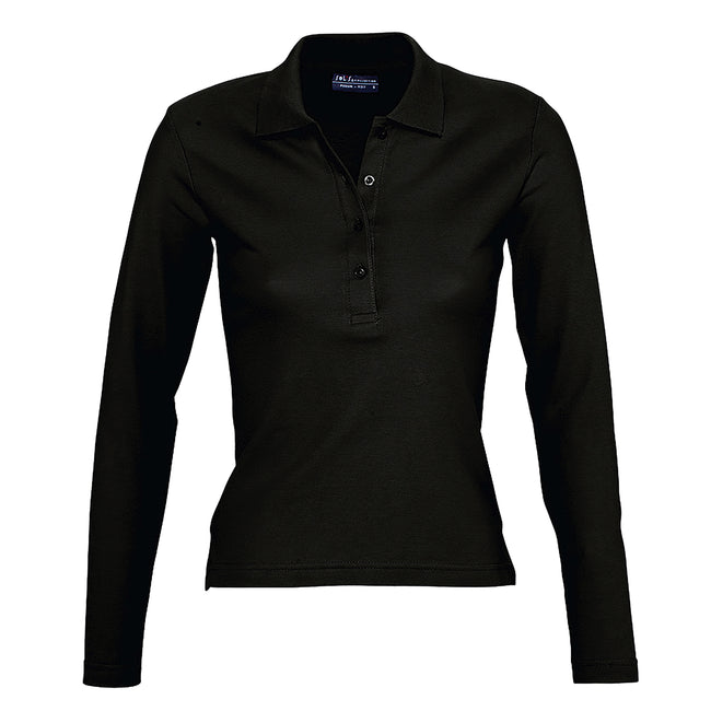 Black - Front - SOLS Womens-Ladies Podium Long Sleeve Pique Cotton Polo Shirt