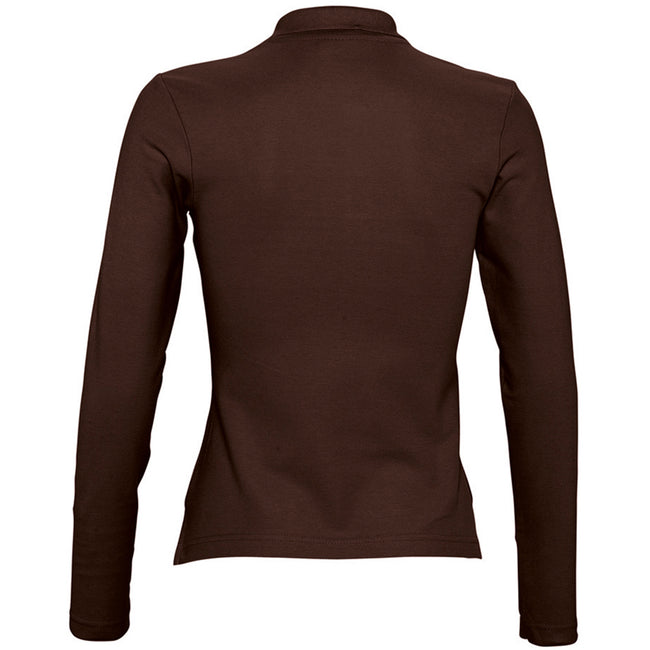 Chocolate - Back - SOLS Womens-Ladies Podium Long Sleeve Pique Cotton Polo Shirt
