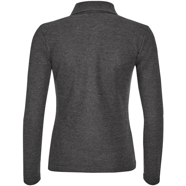 Charcoal Marl - Back - SOLS Womens-Ladies Podium Long Sleeve Pique Cotton Polo Shirt