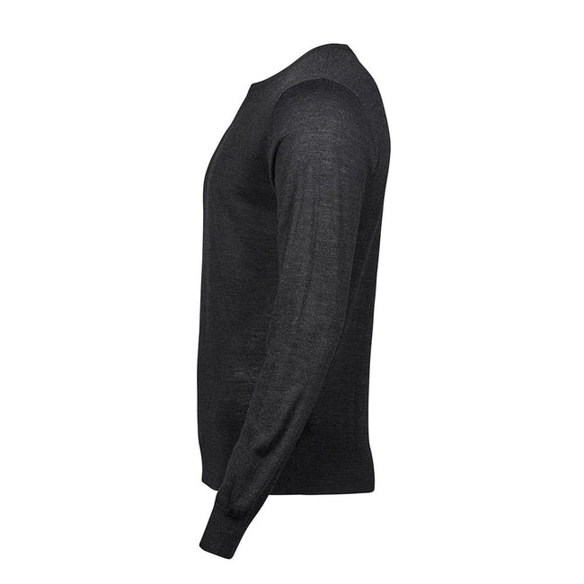 Navy - Front - Tee Jays Mens Merino Blend V Neck Sweater