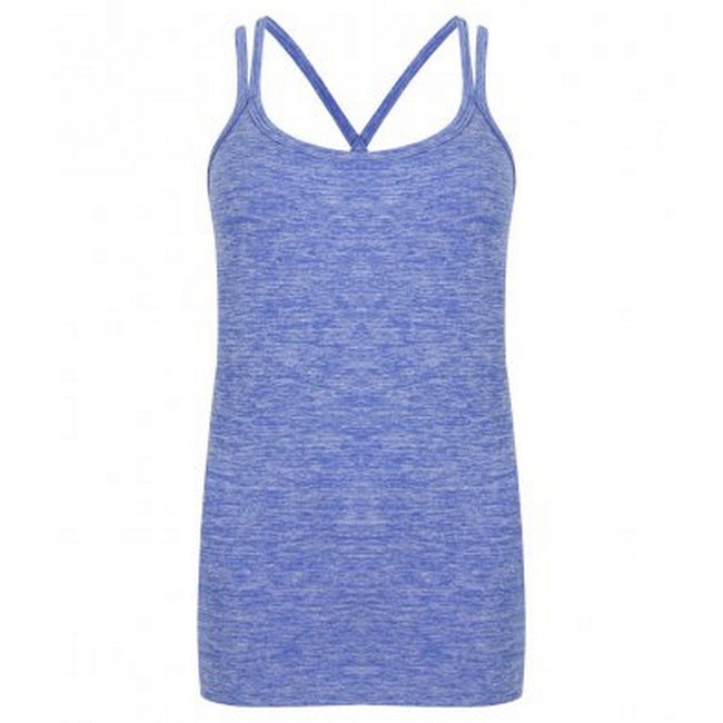 Blue Marl - Front - Tombo Womens-Ladies Seamless Strappy Tank Top