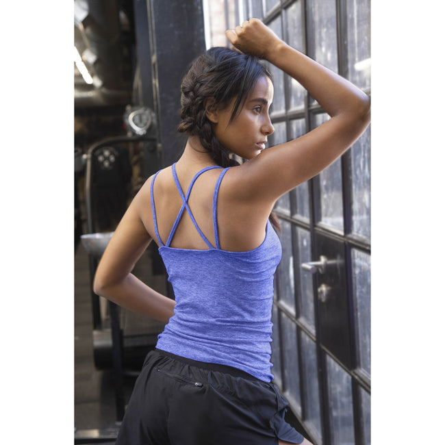 Blue Marl - Back - Tombo Womens-Ladies Seamless Strappy Tank Top