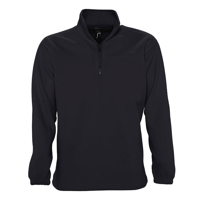 Navy - Side - SOLS Ness Unisex Zip Neck Anti-Pill Fleece Top