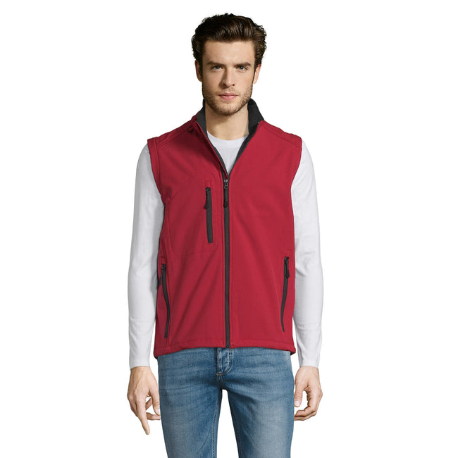 Bottle Green - Close up - SOLS Mens Rallye Soft Shell Bodywarmer Jacket