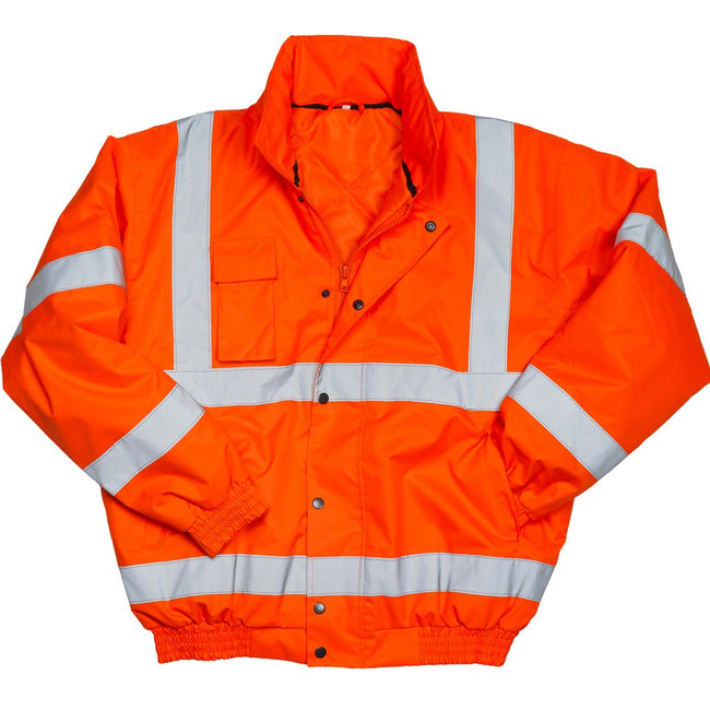 Fluorescent Orange - Back - Warrior Mens Tulsa Hi-Vis Bomber Jacket