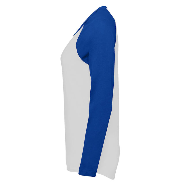 White-Red - Lifestyle - SOLS Womens-Ladies Milky Contrast Long Sleeve T-Shirt