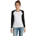 White-Royal Blue - Back - SOLS Womens-Ladies Milky Contrast Long Sleeve T-Shirt