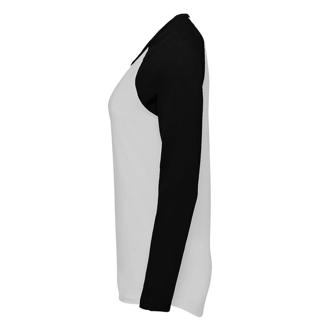 White-Royal Blue - Lifestyle - SOLS Womens-Ladies Milky Contrast Long Sleeve T-Shirt